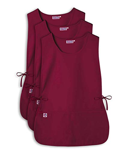 Sivvan Unisex Cobbler Apron - Adjustable Waist Ties, 2 Deep front pockets (3 Pack) - S87003 - Burgundy - X