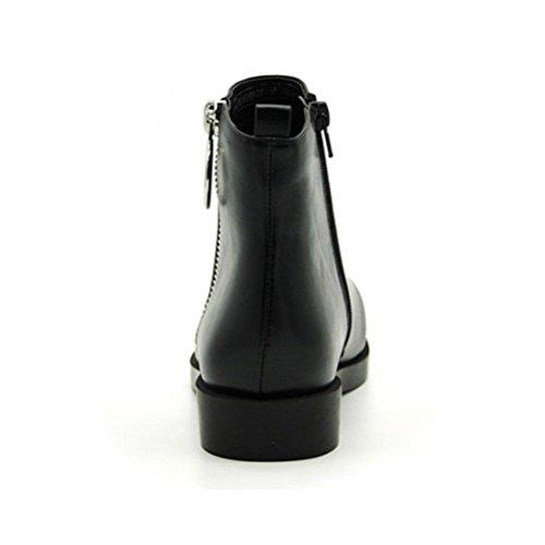 black da laterale Stivali Cerniera XIE tondo Stivali Tacco Donna a Martin Tacco donna spillo corti ruvido nwZ1R
