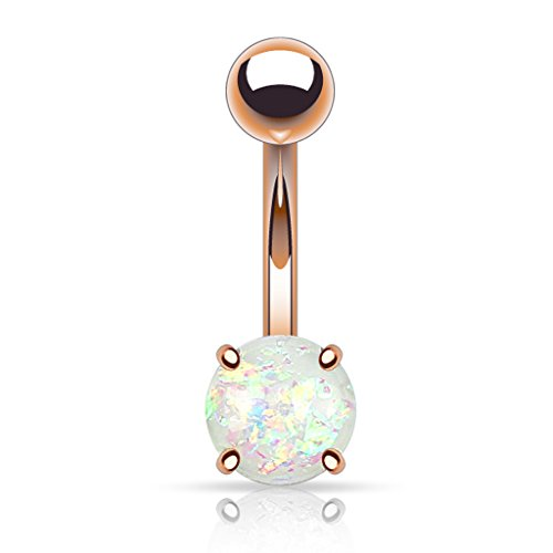 Birthstone Belly Button Ring - Fifth Cue 14G Opal Glitter Prong Set Rose Gold IP Over 316L Surgical Steel Belly Button Ring (Synthetic Opal) - White