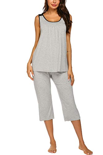 (Ekouaer Women's Sleepwear Bamboo Jersey Round Neck Tank and Capri Pajama PJ Set)