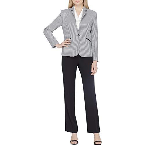 Tahari ASL Womens Printed Long Sleeves Pant Suit Black 14