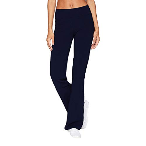 (Winsummer Women's Performance Cotton Yoga Pants Stretch Tummy Control Workout Running Pants Long Bootleg Flare Pants Leggings Navy)