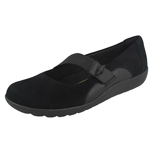 Elasticated Ladies Black Strap Shoes Frost Clarks Medora xw8Avx