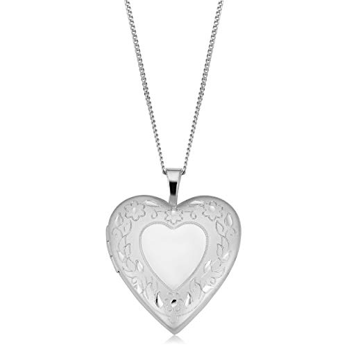 Kooljewelry Rhodium Plated Brass Heart Locket with Sterling Silver Curb Chain Necklace (18 inch) ()
