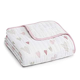 aden + anais Dream Blanket | Boutique Muslin Baby Blankets for Girls & Boys | Ideal Lightweight Newborn Nursery & Crib Blanket | Unisex Toddler & Infant Bedding, Shower & Registry Gift, Heartbreaker