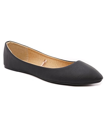 Charles Albert Women's Casual Pointed Toe Ballet Comfort Soft Slip On Flats Shoes (9, Black (Black Ballet Pumps)
