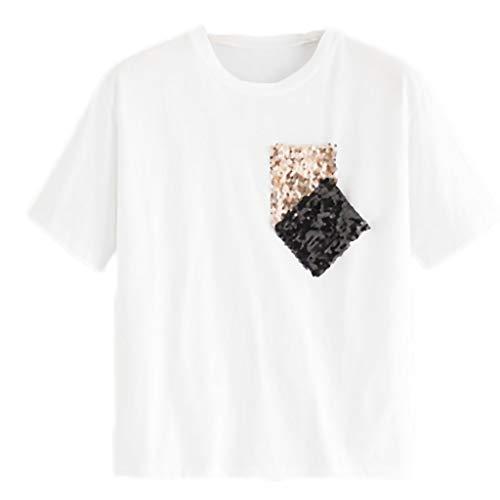 t corte paillettes corta Fidanzato t a da manica girocollo shirt con shirt maniche donna bianca FnnWqPfCa