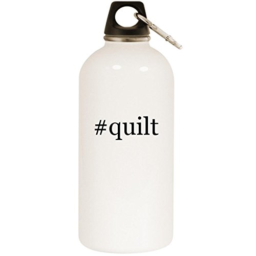 (Molandra Products #Quilt - White Hashtag 20oz Stainless Steel Water Bottle with Carabiner )