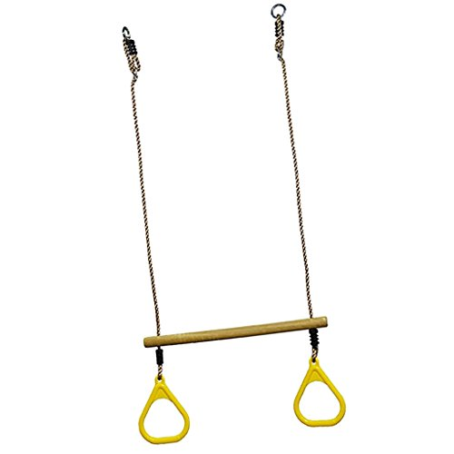 Baoblaze Plastic Gymnastics Swing Flying Rings for Toddler, Kids Garden Yard Exercise Toy Set - Yellow by Baoblaze
