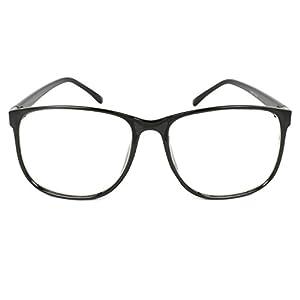 MLC EYEWEAR ® Panto Oversized Thin Frame Nerd Fashion Glasses (Black)