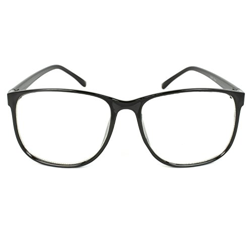 MLC EYEWEAR ® Panto Oversized Thin Frame Nerd Fashion Glasses (Black)