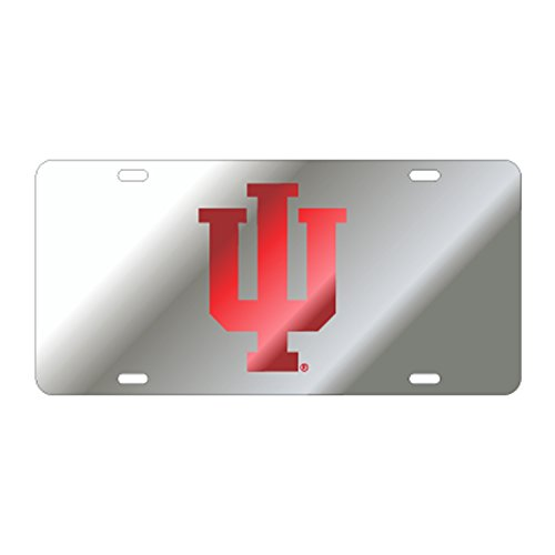 INDIANA UNIVERSITY Hoosiers Silver Mirrored Auto License Plate Tag ()