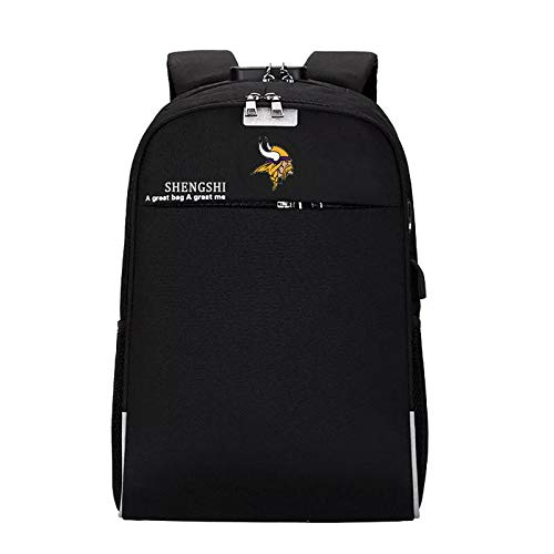 Unisex Laptop Backpack with USB Charging Port, Waterproof and Anti-Theft - Pick Minnesota Vikings