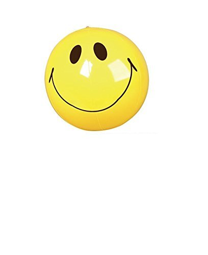 (12) Smiley Face Inflatable Beach Balls ~ One Dozen 16'' Fun Beach Balls Inflates ~ Pool Water Beach Party Birthday Favors ~ Prize BBQ Picnic ~ Tropical Luau Children Outdoor Backyard Fun ~ One Dozen New by RN