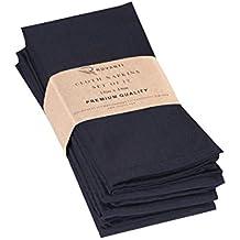 "Ruvanti Cotton Dinner Napkins 12 Pack (18"" X18""), Cloth Napkins Soft and Comfortable Reusable Napkins - Durable Linen Napkins - Perfect Table Napkins/Black Napkins for Family Dinners, Weddings."