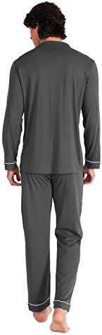 DAVID ARCHY Herren Baumwolle Schlafanzug Zweiteiliger Nachtw/äsche Langarm Shirt und Loungehose mit V Ausschnitt Knopfleiste Taschen und Band