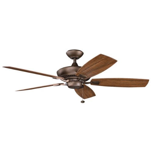 Kichler 310192WCP 52-Inch Canfield Patio Fan, Weathered Copper Powder (Antique Natural Brass Finish)