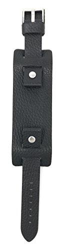 Bandini 20mm Mens Leather Watch Band Strap, Black Rectangular Shape, Biker, Wrist Cuff