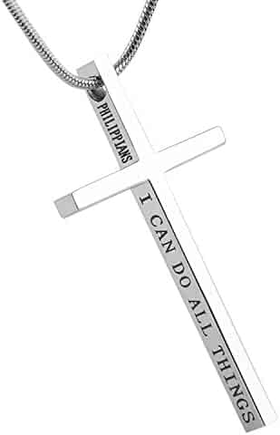 HZMAN Philippians 4:13 Cross Pendant Strength Bible Verse Stainless Steel Necklace