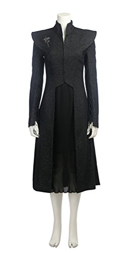 Women's Daenerys Targaryen Costume Season 7, Deluxe Halloween Dragon Queen Cosplay Dress Black (X-Large) ()