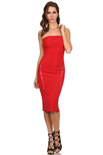 MeshMe Womens Zahrah - Red Zippered Detail Design Concealed Back Zipper Sexy Midi Length Bodycon Cocktail Party Clubbing Tube Dress Large 2017