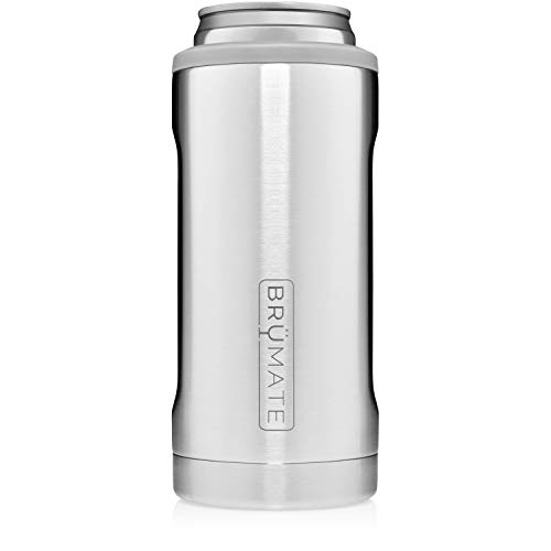 BrüMate Hopsulator Slim Double-walled Stainless Steel Insulated Can Cooler for 12 Oz Slim Cans (Stainless) (Insulated Metal Cooler)