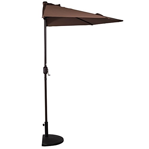 (Sundale Outdoor 9 Feet Steel Half Umbrella Table Market Patio Umbrella with Crank and Strap for Garden, Deck, Backyard, Pool, 5 Steel Ribs, 100% Polyester Canopy (Coffee))