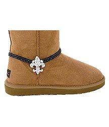 Fleur De Lis Boot Anklet Clear Rhinestone Ankle Bracelet Adjustable