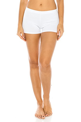 The Classic Women's Stretch Cotton Yoga Booty Shorts Under Shorts in White - Medium -