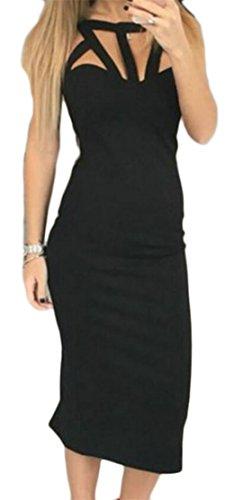Jaycargogo Des Femmes De Manches Cou Sexy Équipage Découpé Robes Maxi Moulantes Couleur Unie Noir