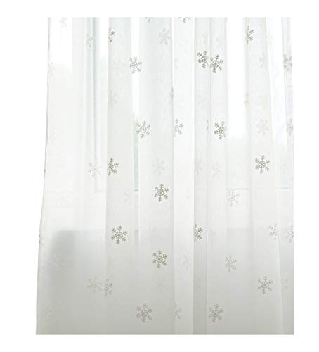 ASide BSide Vintage Style Snowflake Embroidered Cotton Sheer Curtains Rod Pocket Transparent Home Decorations for Living Room Dining Room and Bedroom (1 Panel, W 52 x L 63 inch, White)