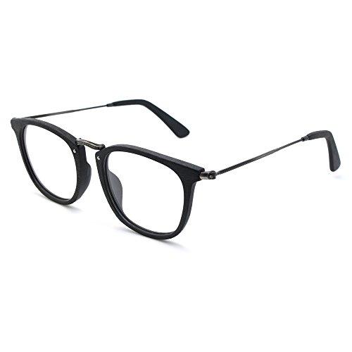 TIJN Retro Wood Wayfarer Eyeglasses Frame Faux Wooden - Faux Eyeglasses