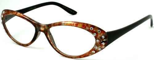 Edge I-Wear Oval Frame Reading Glasses with Rhinestones and Spring Hinge for Stylish Women 31676SR-+1.50(Brown/Black) (Glasses Brown Reading Rhinestone)