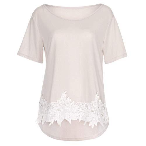 Festival Shirt Tee Femme Casual Tops Rond breal Shirt Tshirts Manches Unique Elgante Mode pissure Creux Irrgulier Beige Courtes Et Dentelle Col wZfdqFxf