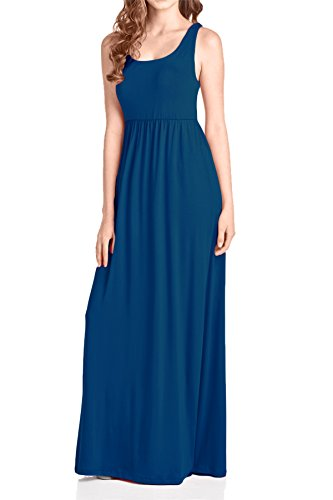 Beachcoco Women's Maxi Tank Dress (M, Teal - Dress Jersey Maxi
