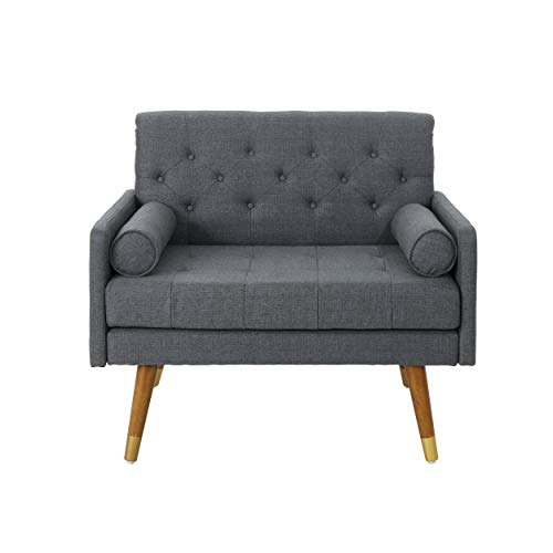 Christopher Knight Home 305843 Nour Fabric Mid-Century Modern Club Chair, Dark Gray, Natural - 2