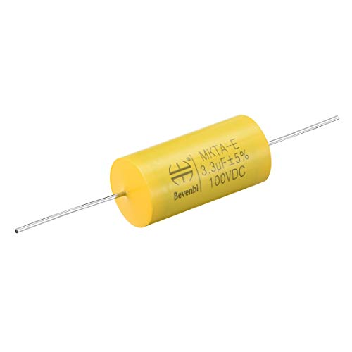 uxcell Film Capacitor 100V DC 3.3uF Round Axial Polyester Film Capacitor for Audio Divider Yellow