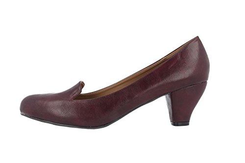 SALE - ANDRES MACHADO - Damen Pumps - Bordeauxrot Schuhe in Übergrößen