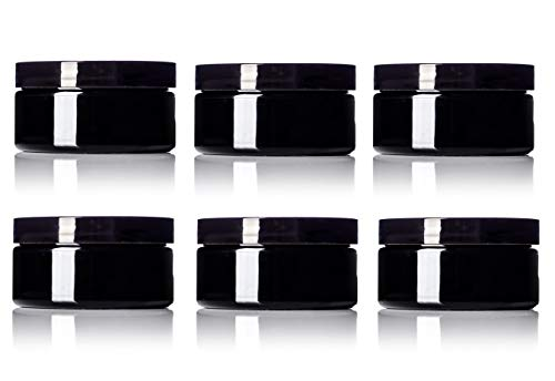 6 Pack - 8 oz Black PET Wide Mouth Single Wall Jar with Black Lids 89-400 neck -