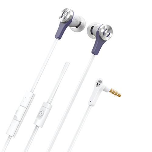 Headphones by MuveAcoustics Drive In-Ear Wired Earphones Earbuds Noise Cancelling, Carry Case, Tangle Free Cable with built in Mic and Volume Control Apple and Android Compatible (White) (Gold Case Filled)