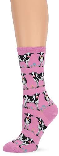 Cow Print Socks - Hot Sox Women's Animal Series Novelty Casual Crew Socks, Cows (Lilac), Shoe Size: 4-10