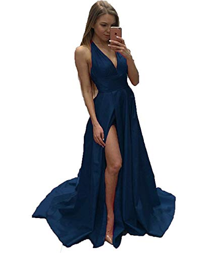 CongYunGe Sexy V-Neck Prom Evening Dress Cross Back Satin Formal Gowns Slit  Navy Blue US 12 029d7c261