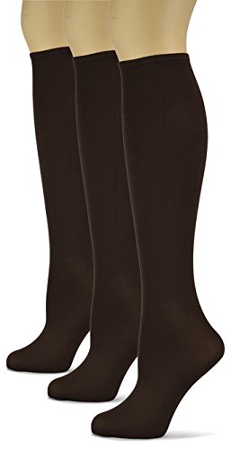 Sox Trot Knee High Trouser Socks - Made in USA (Chocolate) 3 Pack