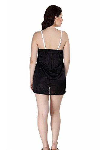 MIss Pixy - Robe de nuit noire en satin nuit noire