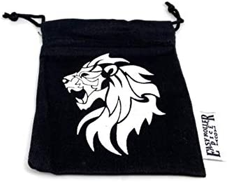 Small Cotton Twill Dice Bag - Lion Design - Holds 40 16mm Dice