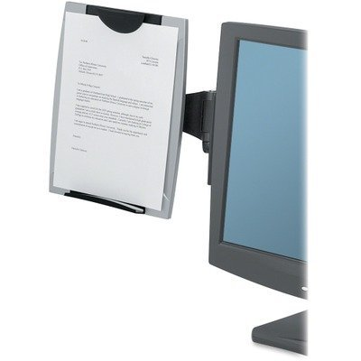 FELLOWES MANUFACTURING 8033301 Office Suites Monitor Mount Copyholder, Plastic, Holds 150 Sheets, Black/Silver by - Monitor Copyholder Mount Fellowes