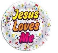 Vacation Bible School / Religious Party Supplies - Jesus Loves Me - 9 Inch Paper Plates (Pack of 48)