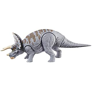 Jurassic World Dual Attack Triceratops Dinosaurs in Medium Size with Button-Activated Dual Strike Action Moves Like Tail & Head Strikes