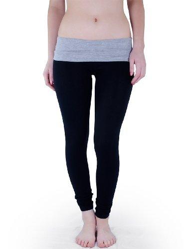 404e570ae92742 Amazon.com: Casual Cotton Spandex Fold Over Waist Leggings Junior Sizing ( Juniors Small, Black/H.Grey): Clothing
