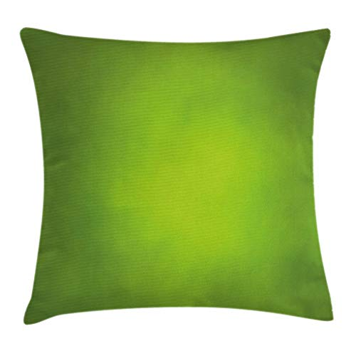 Ambesonne Sage Throw Pillow Cushion Cover, Abstract Green Background with Blurred Color Ecology Growth Woodland Soft Smooth Look, Decorative Square Accent Pillow Case, 20